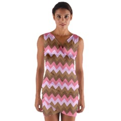 Shades Of Pink And Brown Retro Zigzag Chevron Pattern Wrap Front Bodycon Dress