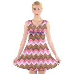 Shades Of Pink And Brown Retro Zigzag Chevron Pattern V Neck Sleeveless Skater Dress
