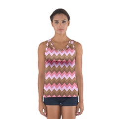 Shades Of Pink And Brown Retro Zigzag Chevron Pattern Women s Sport Tank Top