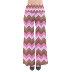Shades Of Pink And Brown Retro Zigzag Chevron Pattern Pants