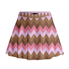 Shades Of Pink And Brown Retro Zigzag Chevron Pattern Mini Flare Skirt