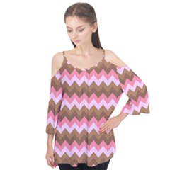 Shades Of Pink And Brown Retro Zigzag Chevron Pattern Flutter Tees