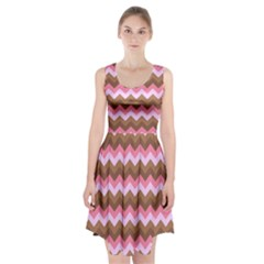 Shades Of Pink And Brown Retro Zigzag Chevron Pattern Racerback Midi Dress
