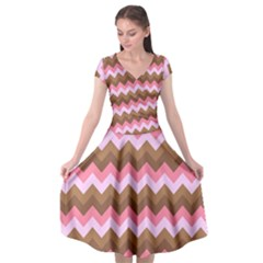 Shades Of Pink And Brown Retro Zigzag Chevron Pattern Cap Sleeve Wrap Front Dress