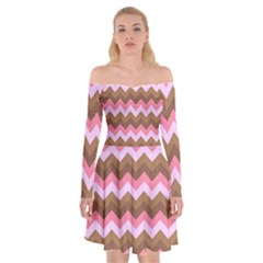 Shades Of Pink And Brown Retro Zigzag Chevron Pattern Off Shoulder Skater Dress