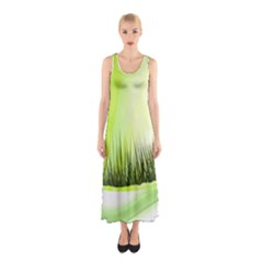 Green Background Wallpaper Texture Sleeveless Maxi Dress