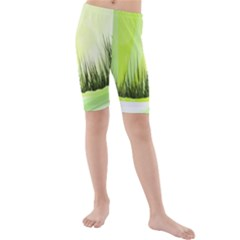 Green Background Wallpaper Texture Kids  Mid Length Swim Shorts