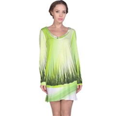 Green Background Wallpaper Texture Long Sleeve Nightdress