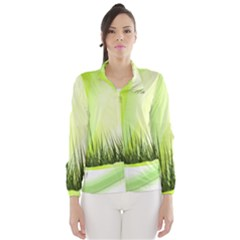 Green Background Wallpaper Texture Wind Breaker (women)