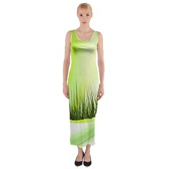 Green Background Wallpaper Texture Fitted Maxi Dress