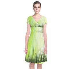 Green Background Wallpaper Texture Short Sleeve Front Wrap Dress