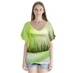 Green Background Wallpaper Texture Flutter Sleeve Top