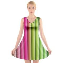 Vertical Blinds A Completely Seamless Tile Able Background V Neck Sleeveless Skater Dress
