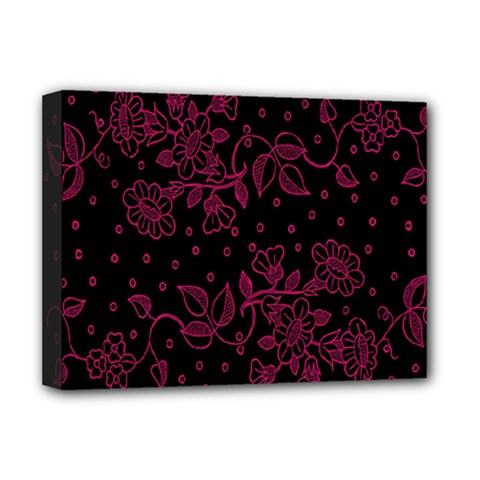 Pink Floral Pattern Background Deluxe Canvas 16  X 12