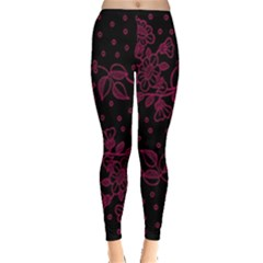 Pink Floral Pattern Background Leggings