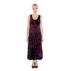 Pink Floral Pattern Background Sleeveless Maxi Dress