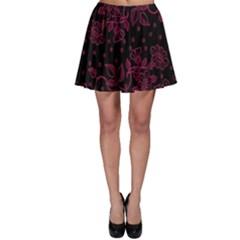 Pink Floral Pattern Background Skater Skirt