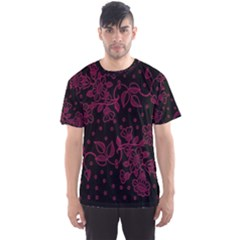 Pink Floral Pattern Background Men s Sports Mesh Tee