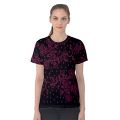 Pink Floral Pattern Background Women s Cotton Tee