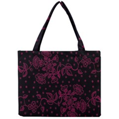 Pink Floral Pattern Background Mini Tote Bag