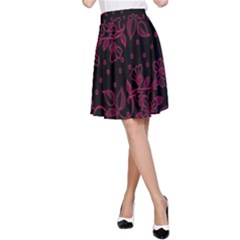 Pink Floral Pattern Background A Line Skirt