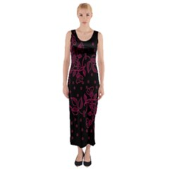 Pink Floral Pattern Background Fitted Maxi Dress
