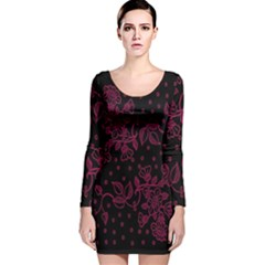 Pink Floral Pattern Background Long Sleeve Velvet Bodycon Dress