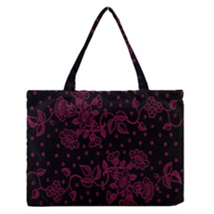 Pink Floral Pattern Background Medium Zipper Tote Bag
