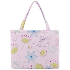 Pretty Summer Garden Floral Bird Pink Seamless Pattern Mini Tote Bag