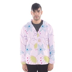 Pretty Summer Garden Floral Bird Pink Seamless Pattern Hooded Wind Breaker (men)
