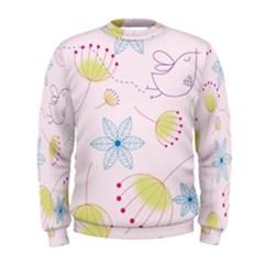 Pretty Summer Garden Floral Bird Pink Seamless Pattern Men s Sweatshirt