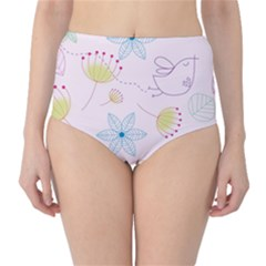 Pretty Summer Garden Floral Bird Pink Seamless Pattern High Waist Bikini Bottoms