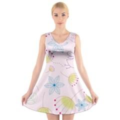 Pretty Summer Garden Floral Bird Pink Seamless Pattern V Neck Sleeveless Skater Dress
