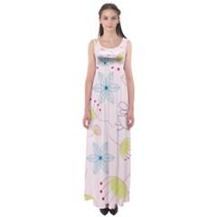 Pretty Summer Garden Floral Bird Pink Seamless Pattern Empire Waist Maxi Dress