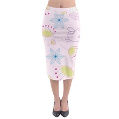 Pretty Summer Garden Floral Bird Pink Seamless Pattern Midi Pencil Skirt