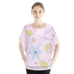 Pretty Summer Garden Floral Bird Pink Seamless Pattern Blouse