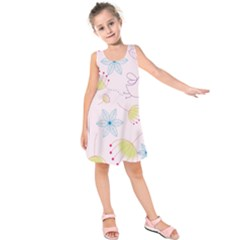 Pretty Summer Garden Floral Bird Pink Seamless Pattern Kids  Sleeveless Dress