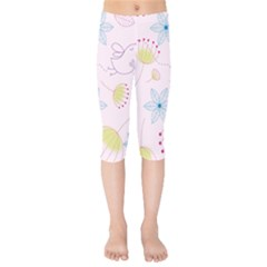 Pretty Summer Garden Floral Bird Pink Seamless Pattern Kids  Capri Leggings