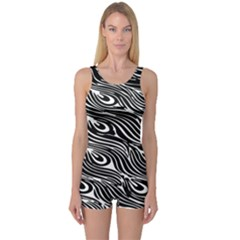 Digitally Created Peacock Feather Pattern In Black And White One Piece Boyleg Swimsuit