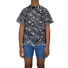 Digitally Created Peacock Feather Pattern In Black And White Kids  Short Sleeve Swimwear