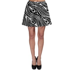Digitally Created Peacock Feather Pattern In Black And White Skater Skirt