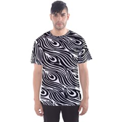 Digitally Created Peacock Feather Pattern In Black And White Men s Sports Mesh Tee