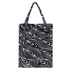 Digitally Created Peacock Feather Pattern In Black And White Classic Tote Bag