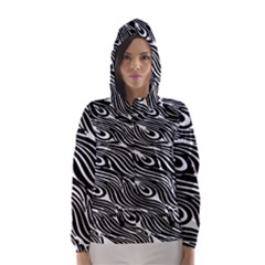 Digitally Created Peacock Feather Pattern In Black And White Hooded Wind Breaker (women)