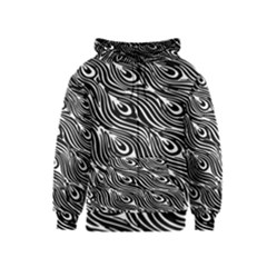 Digitally Created Peacock Feather Pattern In Black And White Kids  Zipper Hoodie
