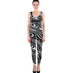 Digitally Created Peacock Feather Pattern In Black And White Onepiece Catsuit