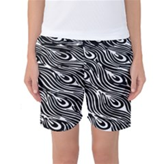 Digitally Created Peacock Feather Pattern In Black And White Women s Basketball Shorts