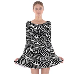 Digitally Created Peacock Feather Pattern In Black And White Long Sleeve Skater Dress