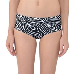 Digitally Created Peacock Feather Pattern In Black And White Mid Waist Bikini Bottoms