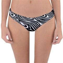 Digitally Created Peacock Feather Pattern In Black And White Reversible Hipster Bikini Bottoms
